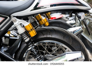 PARIS, FRANCE - CIRCA MAY 2013: Ohlins shock absorbers, motorcycle rear suspsension detail.