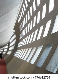 PARIS, FRANCE - CIRCA MAY 2015: Charles De Gaulle airport - detail of the concrete architecture