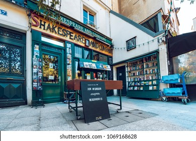 Paris, France - circa May, 2017: The Shakespeare and Co. bookstore on May 05, 2017 in Paris, Opened in 1951 by George Whitman near Notre Dame,is a reading library, specializing in English literature