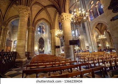 Paris, France- circa May, 2017: Notre Dame Cathedral interior at Paris, France. Notre-Dame, is a medieval Catholic cathedral on the Ile de la Cite in the fourth arrondissement of Paris