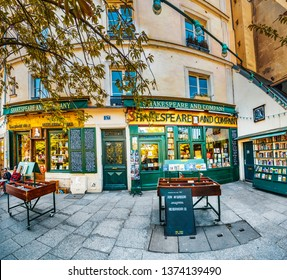 Paris, France - circa May, 2017: Famous Shakespeare and Company bookstore and library (specializing in English-language literature) was founded in Paris's Left Bank by American George Whitman in 1951
