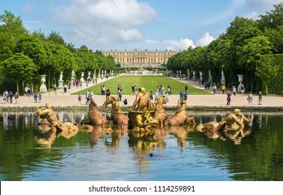 PARIS, FRANCE - CIRCA MAY 2018: Apollo fountain in Versailles park