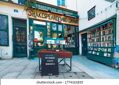 Paris, France - circa May, 2019: View of the landmark Shakespeare and Company bookstore and cafe located on the Left Bank in Paris, France, across from Notre Dame