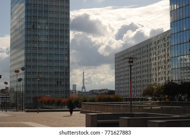 Paris, France – CIRCA October 2009: View on Eiffel Tower from La Defense