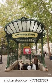 Paris, France – CIRCA October 2009: Art nouveau entrance to subway in Paris