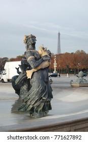 Paris, France – CIRCA October 2009: Statue in Concorde square in Paris