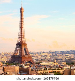 Paris, France - cityscape with Eiffel Tower in the light of sunset. UNESCO World Heritage Site. Square composition.