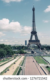 Paris, France - cityscape with Trocadero gardens and Eiffel Tower. UNESCO World Heritage Site. Retro filtered colors.