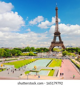 Paris, France - cityscape with Trocadero gardens and Eiffel Tower. UNESCO World Heritage Site. Square composition.