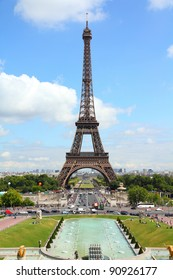 Paris, France - cityscape with Trocadero gardens and Eiffel Tower. UNESCO World Heritage Site.