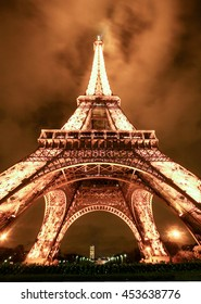 PARIS, FRANCE - DEC 16 2005: Ceremonial lighting of the Eiffel tower  2006 in Paris, France. The Eiffel tower is the most visited monument of France.