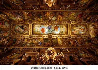 PARIS, FRANCE - DEC 16, 2005: Interior of the Palais Garnier (Opera Garnier) in Paris, France. It was originally called the Salle des Capucines. Was built from 1861 to 1875 for the Paris Opera.