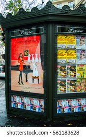 PARIS, FRANCE - DEC 23, 2005:  Art and advertisements  in Montmartre gallery. Charming streets of Montmartre hill are full of art galleries, cafes and shops - one of most visited landmarks in Paris.