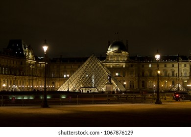 Paris, France - Dec 7, 2012:  Louvre Museum at night