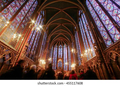 PARIS FRANCE DEC 8 2005: The Sainte Chappelle was built in 1248 features 15 stain-glass windows,- is considered among the highest achievements of the Rayonnant period of Gothic architecture