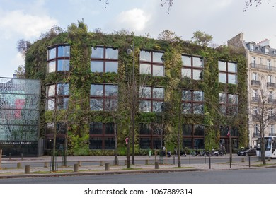 Paris, France - Dec 8, 2012:  Green wall of the administrative building of the Quai Branly Museum in Paris (Patrick Blanc, 2004)
