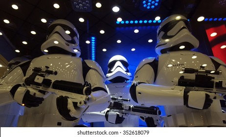Paris, France - December 01, 2015. Inauguration of the Galeries Lafayette Windows for Christmas 2015 with a Star Wars dedicated window with stormtroopers