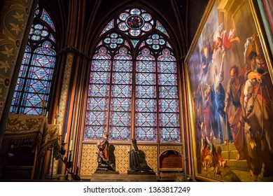Paris, France - December 04,2018- Interior of the Notre Dame Cathedral in Paris
