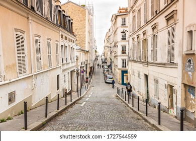 Paris, France - December 04.2018 - Street on Montmartre in Paris