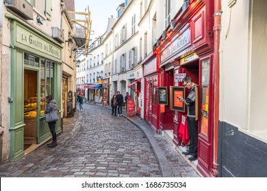 Paris, France - December 05.2018 - Street on Montmartre in Paris