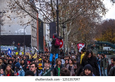 Paris, France; December 06 2018: student march against the rise in the price of inscription to the university for non-European students