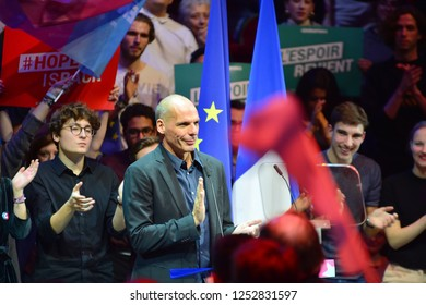 PARIS, FRANCE - DECEMBER 06, 2018: Yanis Varoufakis (Econimics Professor, Former minister in Greace) speaks during the meeting GENERATION.S party  for european elections