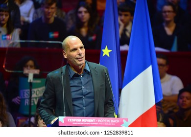 PARIS, FRANCE - DECEMBER 06, 2018: Yanis Varoufakis (Economics professor, former Minister Greece) speaks during the meeting GENERATION.S party  for european elections