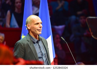 PARIS, FRANCE - DECEMBER 06, 2018: Yanis Varoufakis (econimics professor, former minister greece) speaks during the meeting GENERATION.S party  for european elections