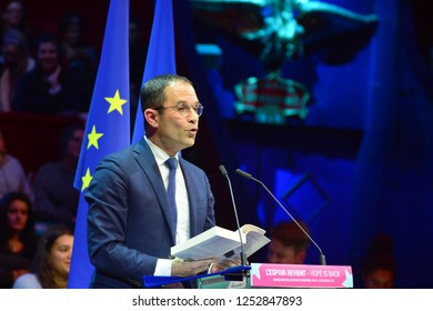 PARIS, FRANCE - DECEMBER 06, 2018: Benoit Hamon read an extract of Primo Levi  during the meeting of his party  GENERATION.S  for european elections