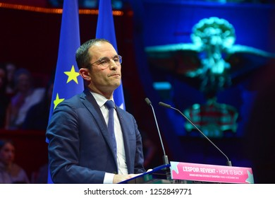 PARIS, FRANCE - DECEMBER 06, 2018: Speech of Benoit Hamon during the meeting of his party  GENERATION.S  for european elections