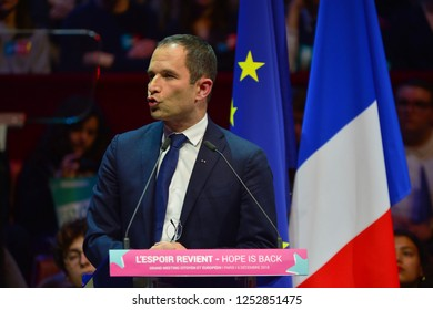 PARIS, FRANCE - DECEMBER 06, 2018: Speech of Benoit Hamon (Former minister) during the meeting of his party  GENERATION.S  for european elections