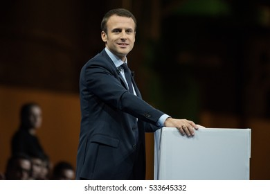 PARIS, FRANCE - DECEMBER 10, 2016 : Emmanuel Macron in meeting, the great gathering, at Paris Porte de Versailles for the french presidential election of 2017 with his political party en marche.