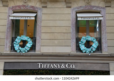 PARIS, FRANCE - DECEMBER 10, 2017: Tiffany & Co. Retail main shop on Champs Elysee avenue . Tiffany's is a Luxury Jewelry and Specialty Retailer,