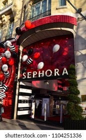 PARIS, FRANCE - DECEMBER 10, 2017: Sephora shop on Champs Elysee avenue. Sephora is a French brand and chain of cosmetics stores founded in Paris in 1970