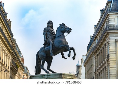 Paris, France - December 10, 2017: Statue of King Louis XIV in Victory Square (Place de Victoires) comissioned by King Louis XVIII to Francois Joseph Bosio.