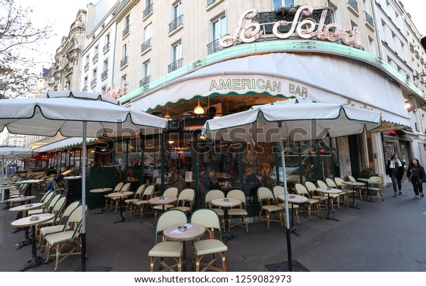 Paris, France - December 12, 2018: Le Select in the Montparnasse Quarter - one of the most legendary and the famous Parisian cafes.