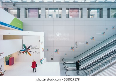 PARIS, FRANCE - DECEMBER 13, 2016: OECD (Organisation for Economic Co-operation and Development) interior. The OECD is founded in 1961 to stimulate economic progress and world trade.