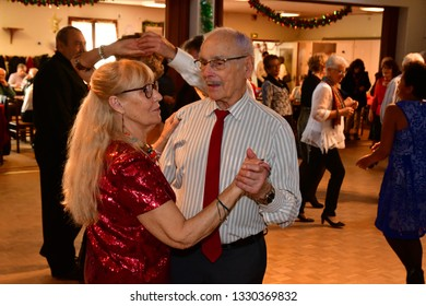 Paris, France - december 13 2018 : retired person are dancing