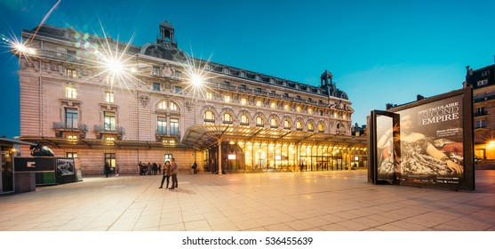 PARIS, FRANCE - DECEMBER 14, 2016: Orsay Museum (Musee d'Orsay) at night. It's a museum on the left bank of the Seine. It is housed in the former Gare d'Orsay, a Beaux-Arts railway station.
