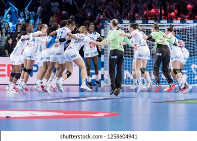 Paris, France - December 14,2018: The french handball players enjoy the victory after the game between France and Holland,  AccorHotels Arena,   at 2018 Women's EHF EURO -  Semifinal.