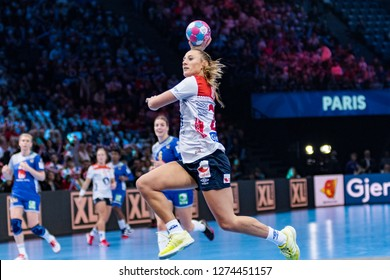 Paris, France - December 14,2018: The handball player HERREM Camilla during the game between Sweden and Norway at 2018 Women's EHF EURO -  5th place game.