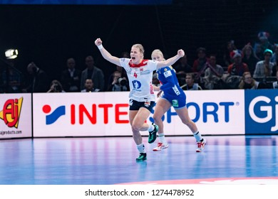 Paris, France - December 14,2018: The handball player KRISTIANSEN Veronica during the game between Sweden and Norway at 2018 Women's EHF EURO -  5th place game.