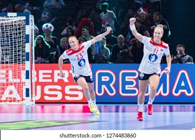 Paris, France - December 14,2018: The handball playerS HERREM Camilla and AUNE Malin during the game between Sweden and Norway at 2018 Women's EHF EURO -  5th place game.