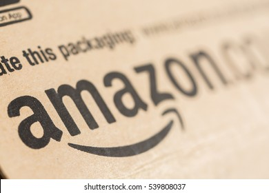Paris, France - December 15, 2016: Amazon Prime Parcel Package. Amazon, is an American electronic commerce and cloud computing company,based in Seattle, Washington. Started as an online bookstore,