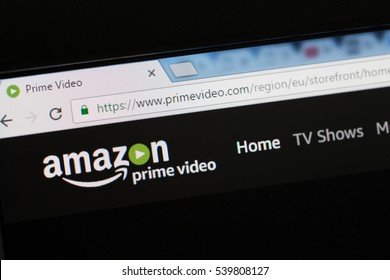 Paris, France - December 15, 2016: Amazon Prime Video HomePage of Website. Amazon, is an American electronic commerce and cloud computing company,based in Seattle, Washington.