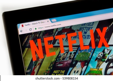 Paris, France - December 15, 2016: Netflix HomePage of Website. Netflix Inc. is an American company founded specializes in and provides streaming media and video on demand online and DVD by mail.