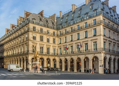 PARIS, FRANCE - DECEMBER 16, 2015: Beautiful view of the streets and architecture in Paris downtown.