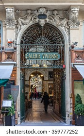 PARIS, FRANCE - DECEMBER 16, 2015: Galerie Vivienne (1823). Vivienne Covered Passage is 176 meters long, with shops, restaurants and tourist attraction.