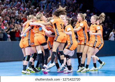 Paris, France - December 16, 2018: The Netherlands handball players enjoy the victory after the game between Romania and Netherlands at 2018 Women's EHF EURO 2018 - 3rd Place Final.