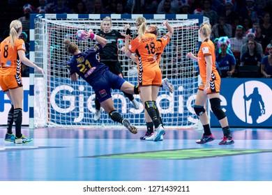 Paris, France - December 16, 2018: The handball player PINTEA Crina Elena during the game between Romania and Netherlands at 2018 Women's EHF EURO 2018 - 3rd Place Final.